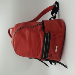 Nine West Red Pebbled Faux Leather Biker Double Zip Backpack